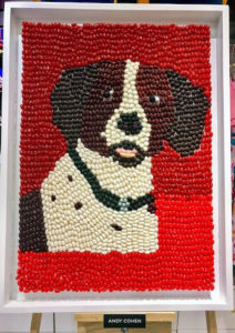 This candy mosaic from Andy Cohen was made using jelly beans, M&Ms, Gummy Teeth and Sixlets.