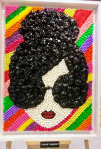 Stacey Bendet Wiener - CEO of Alice + Olivia, a New York City contemporary clothing company, made a self portrait candy mosaic out of jelly beans, licorice wheels and candy sunflower seeds.