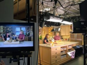 Here we are on the monitor talking about the different ingredients. Also on the show, I'll make apple cider doughnut cake, tender maple-glazed pumpkin spelt scones, and seeded graham biscotti.