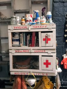 And this is a first aid station also shown in 'Cobb Dock & The Red Hook Lady Fliers', 2017. Cobb Dock is a manmade island in Brooklyn's Wallabout Bay, which housed the Navy's first and largest messenger pigeon fleet in operation from the late 1860s until 1901.