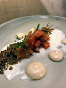And here is cured Alaska salmon with pumpernickel sill, creme fraiche and meyer lemon by Chef Uddipa.