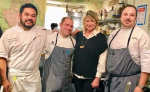 Here I am with the event's visiting chefs from Alaska - Chef Lionel Uddipa from Salt in Juneau, Chef Aaron Apling-Gilman and Chef Jason Porter, both from Alyeska Resort in Girdwood. Chef Uppida is the newly crowned King of American Seafood.