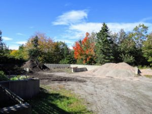 Here is the compost area where the gravel is stored for the winter.