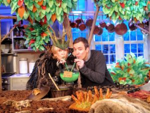 "Here, Jimmy Fallon and I enjoyed slurping Eggs of Newt together for season 5 of ""The Martha Stewart Show""! I am dressed as a ""Wild Thing"" in honor of the book, ""Where the Wild Things Are"" by Maurice Sendak."