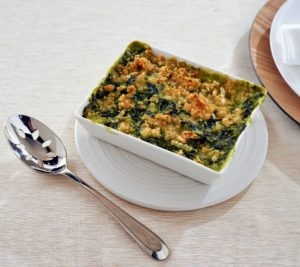 And this classic creamed spinach is something that was often served on my family's holiday menu growing up. It is made with chopped spinach, butter, whole milk, and sour cream, and topped with a panko bread crumb, butter, and gruyere cheese - so very delicious.