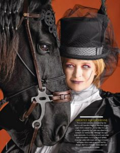 Here I am dressed as a ghostly equestrienne with my handsome Friesian, Rutger, at my side. This costume was for the cover of our 2009 Halloween issue. (Photo by Diego Uchitel)