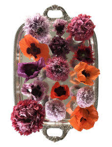 Here is the actual photo of the poppies on a silver platter that inspired my mosaic. It is one of my favorite flower photographs - all of them grown in the gardens of my Bedford, New York farm.