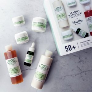The 50s plus kit includes an orange cleansing soap, an alpha grapefruit cleansing lotion, a peptide-infused eye cream, a renewal cream and serum, and a super collagen mask.