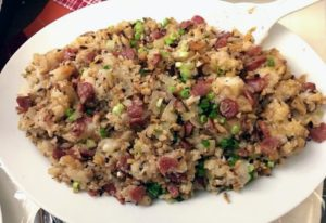 This is sticky rice with Chinese sausage and dried shrimp.
