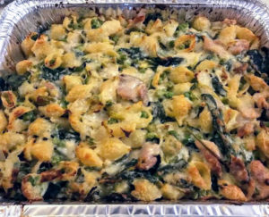 This is a closeup of the baked shells with chicken, leeks, ricotta and spinach.