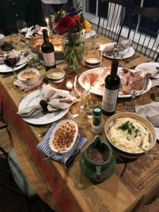 """""""And here's the spread, complete with manicotti in addition to the classic Thanksgiving meal."""""""