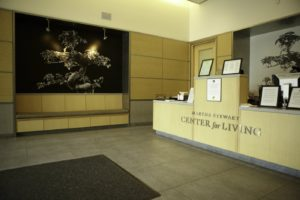 Here is the lobby of the Center for Living. It was designed by architect Chien Chung 'Didi' Pei.