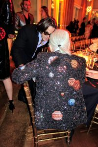 At a dinner honoring Karl Lagerfeld, Karl wore this fun celestial jacket. Karl is the head creative director of the fashion house Chanel as well as the Italian house Fendi and his own fashion label.