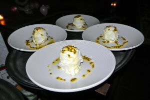 And here is a wonderful peach pavlova with olive oil ice cream and ginger gelee. Pavlova is one of my favorite desserts.