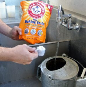 Each container also gets a scoop of baking soda.