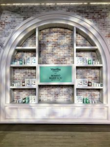 Here is the back wall of our QVC set from last week's appearance, when I talked about my new Beauty Collection developed with Mario Badescu.