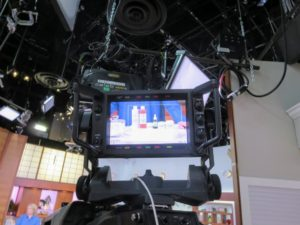 The camera equipment is complete with small monitors, so each operator has a detailed view of what he or she is shooting during the segment.