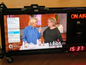 More monitors are located throughout the studio for producers to view. This one shows the graphics on the left side which indicate the details of the items being sold. Here I am talking about the importance of cleansing and moisturizing the skin at any age.
