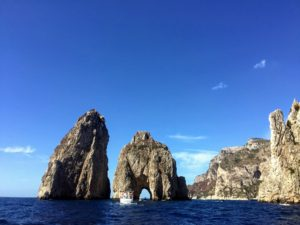 On this day, Ryan and his friends took a boat ride to Capri's most iconic sight - the dramatic Faraglioni, three towering rock formations which jut out from the Mediterranean just off the island's coast - so stunning.