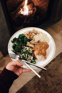 """These next photos are from senior designer, Joo Young Lim. """"My friends, Sam and Nate, hosted a """"Friendsgiving"""" gathering at their apartment in Manhattan. It was nice to see Martha Stewart Collection dinnerware from Macy's in use here!"""""""