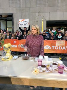 Here I am at New York City's famed Rockefeller Plaza, where The Today Show broadcasts its outdoor segments. I am on set during the tease to our cooking demo preparing some of the ingredients for the Warm Chocolate Pudding Cakes.