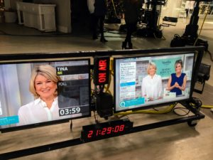 Here are two of the many large monitors all around the studio. They allow our crew and editorial producers to see everything we're doing on set and to know when technical adjustments need to be made.