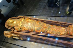 Here is the sarcophagus of Henuttawy - painted wood, stuccoed and painted cloth from the Egyptian civilization in 950-900 BCE. This area displays interpretations of royalty and divinity of early times.