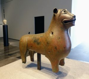 "Many also admired this ""Mari-Cha"" lion made of bronze from southern Spain or southern Italy around 1000--1200. This lion is one of the most important works of art from the Mediterranean region. The tube in its mouth and the holes on the body show that the object once made noise."