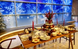 Here is a closer shot of the table, so you can see our Embossed Dinner Plates, Silver Figural Snowflake Salad Plates, bowls, platters, and glassware - all from my Collection at Macy's.