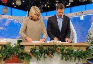 And here we are folding the napkins for the table. You have to watch the segment today to get the how-to.