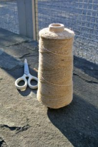 To sew the burlap, we use jute twine. It is all natural and the same color as the burlap.