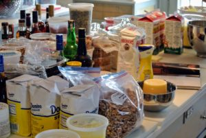 My kitchen counter is filled with ingredients! I like to put everything out, so we know exactly what we need for each recipe.