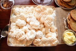 Here is a platter of beautifully sculpted meringues.