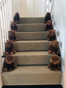 On the staircase, Laura used these beautiful bears to greet guests as they turned the corner from the kitchen - so cute.