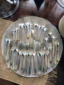 Nearby, a tray of forks - even the flatware looked so decorative on the table.