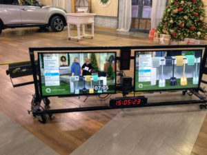 The large QVC studio has monitors where the crews can view everything that's happening - a very accurate clock is always visible, so we all know exactly when to go to the next segment.