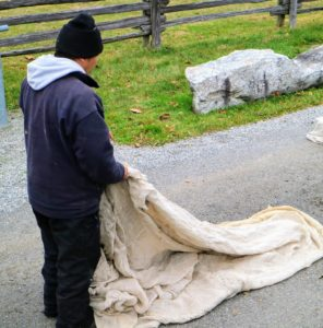 Here is Chhewang unraveling a piece of burlap saved from a previous season. When using new burlap, it is unrolled and cut to the measurements of the hedge or shrub being covered.