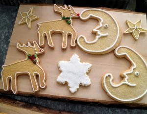 More sugar cookies shaped like stars, deer and crescent moons - we used a large variety of cookie-cutter shapes.