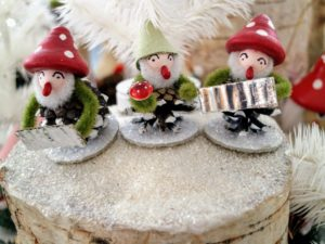 It is complete with tiny figures, such as these playful gnome carolers.