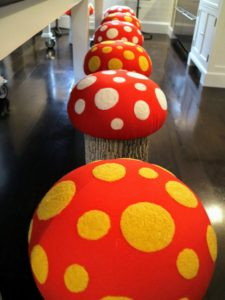 "Laura brought out these wonderful toadstools - I made these on ""The Martha Stewart Show"" - everyone loved these stools."