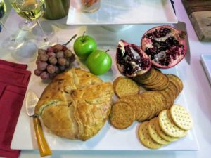 Here is my Brie en Croute displayed with fruits and crackers. This Brown Sugar and Pecan Brie is easy to prepare - just thaw, bake, and enjoy.