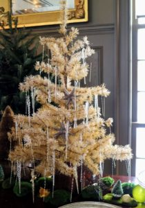 A smaller tabletop tree with glass icicle ornaments - also very simple, but so elegant.