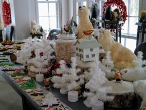 As many of you know, my longtime housekeeper, Laura, has an exceptional talent for decorating. Every year, she creates the most stunning displays. This is a little snowy gnomes' village set on the table.