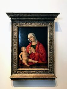 "Here is Giovanni Bellini's ""Madonna and Child"" from Venice, Italy between 1480 and 1485. It's an oil on panel work."