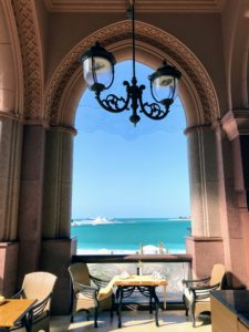 We ate lunch at Mezlai in the Emirates Palace, a luxury hotel in Abu Dhabi, which opened in 2005. The views are so stunning.