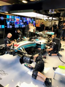 We had a virtual pit stop in the pits of the race track where we visited with the mechanics crew of Lewis Hamilton's Formula One Mercedes car.