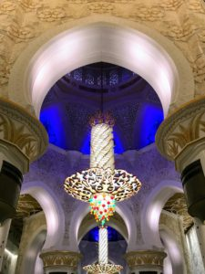 The Sheikh Zayed Grand Mosque has seven imported chandeliers from Faustig in Munich, Germany that incorporate millions of Swarovski crystals.