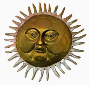 And here is a mixed metal sun currently at Palm Beach Antique & Design Center. It is 40-inches in diameter. Most of the face is made of brass, while the eyes and rays are made of copper - such beautiful pieces by such a talented artist. (Photo provided by Palm Beach Antique & Design Center)