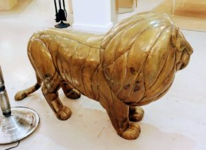 The lion is 50-inches long, 33-inches high and 17-inches deep. Sergio's animals are also hollow making them a lot lighter than other sculptures - another characteristic of his work that makes these pieces so rare.
