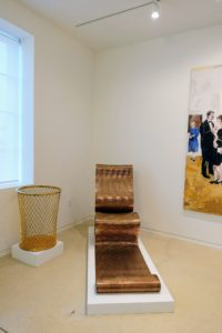 """Sitting in the downstairs lobby is Ron Arad's """"London Pappardelle"""", 1992 - a polished, woven bronze with polished profiles. The waste basket to the left is Sylvie Fleury's """"Yes to All"""", 2004, steel with 24-karat gold plate."""